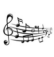 musical notes staff background with lines vector image