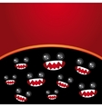 Party card Monsters eyes and toothy mouth on black vector image