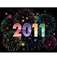 2011 numbers and fireworks vector image vector image