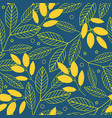 autumn seamless pattern of yellow leaves on a blue vector image vector image