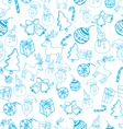 blue seamless christmas pattern vector image vector image