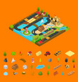 board game concept and elements 3d isometric view vector image vector image