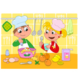 Boy and girl cooking vector image vector image