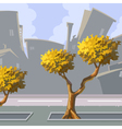 cartoon curve city with autumn trees vector image vector image