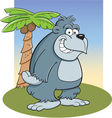 Cartoon Gorilla with Palm Tree vector image vector image