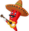 cartoon happy sombrero chili pepper playing a guit vector image vector image