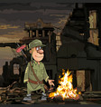 cartoon soldier stands by the bonfire in ruins vector image vector image