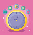 clock with economy and financial icons vector image