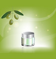 cosmetic cream with olive oil vector image