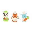 cute animal chefs characters set panda bear