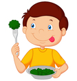 Cute little boy eats vegetable using fork vector image vector image