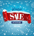 discount winter poster with red ribbon with snow vector image vector image
