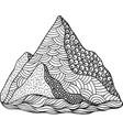 doodle mountain coloring page cartoon artwork vector image