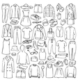 Doodle set with man and woman clothes vector image vector image