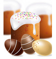 easter traditional sweet bread and chocolate eggs vector image