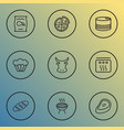 eating icons line style set with barbecue steak vector image