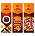 fast food vertical banners set with vector image