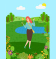 female lady has fun nature eco clean environment vector image vector image
