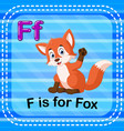 flashcard letter f is for fox vector image