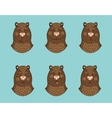 Funny bear emotion icon set vector image vector image