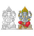 ganpati with mouse for poster ganesh chaturthi vector image