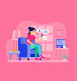 girl on chair surfing on social networks vector image