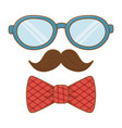 glasses with moustache and tie bow vector image vector image