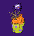 halloween cupcake with chocolate spider webs and vector image
