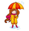 hand drawn beautiful cute girl with umbrella on vector image