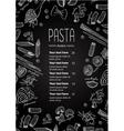 hand drawn blackboard pasta menu vector image vector image