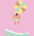 happy people sunbathing on beach in top view vector image vector image