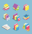 isometric books pile of book open and closed vector image