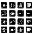 Kitchen tools and utensils set icons grunge style vector image vector image
