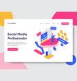 landing page template social media ambassador vector image vector image
