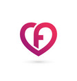 letter f heart logo icon design template elements vector image vector image