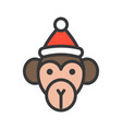 monkey wearing santa hat outline icon editable vector image vector image