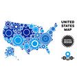 mosaic usa with alaska map of gears vector image