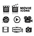 Movie black glossy icon set vector | Price: 1 Credit (USD $1)