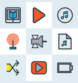 multimedia icons colored line set with broadcast vector image vector image