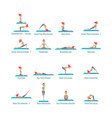 on isolated white background set poses yoga vector image vector image