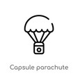 outline capsule parachute icon isolated black vector image vector image