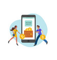 people carrying bitcoins in wallet flat vector image