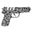 pistol gun collage of triangles vector image
