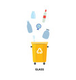 recycle trash bin for used and thrown glass vector image