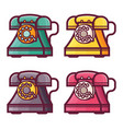retro phone with rotary dial icons vector image