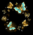 Round Dance of Golden Butterflies vector image vector image