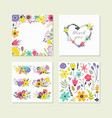 set cute colorful floral elements vector image
