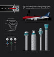 set of airplane landing infographic vector image vector image