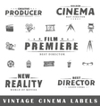 Set of vintage cinema labels vector image