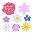 set simple flowers color silhouette vector image